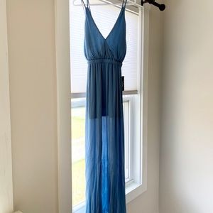Lulus Maxi Slate Blue Dress